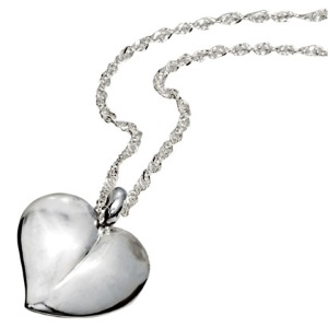 Image of Silver Pendant - Heart Drop (35004)