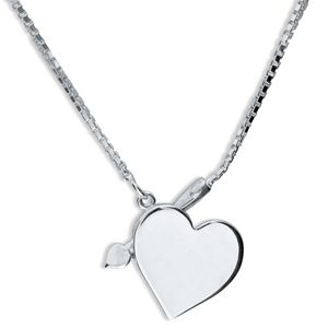Image of Silver Necklace - Heart and Arrow (35040)