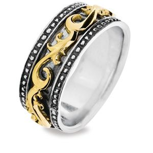 Image of Silver and Gold Ring - Spinner Size L (35093L)