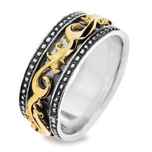 Image of Silver and Gold Ring - Spinner Size P (35093P)