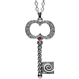 Image of Ruby Silver Pendant - Key (35120/CR)