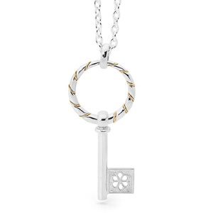 Image of 2 Tone Silver and Gold Pendant - Key (35121)