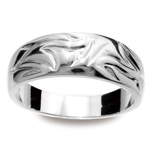 Image of Silver Ring - Bark Texture (35141)