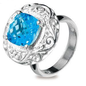Image of Blue Topaz Silver Ring (35153/BT)