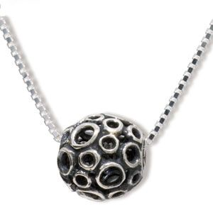 Image of Silver Charm - Moon Crater Ball Bead (35170)
