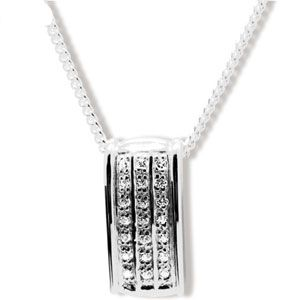 Image of Cubic Zirconia CZ Silver Pendant and Chain (35173/CZ)