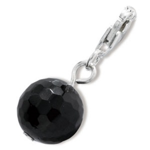 Image of Silver Charm - Black Bead (35196)
