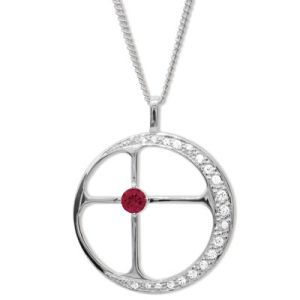 Ruby and Cubic Zirconia CZ Silver Pendant - Destiny
