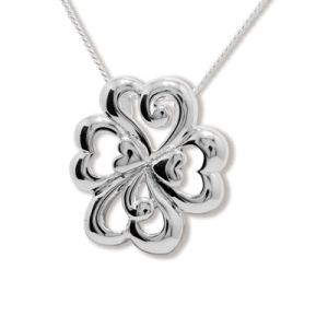 Image of Silver Pendant - Four Leaf Clover Luck (35272)