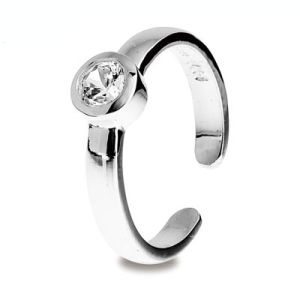 Image of Cubic Zirconia CZ Silver Toe Ring (35288/CZ)