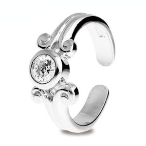 Image of Cubic Zirconia CZ Silver Toe Ring - Scroll (35289/CZ)