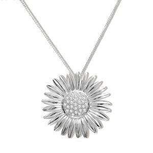 Image of Cubic Zirconia CZ Silver Pendant and Chain - Flower (35298/CZ)
