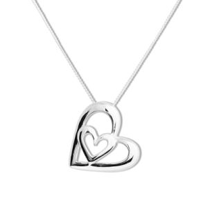 Image of Silver Pendant - Heart within a Heart (35314)