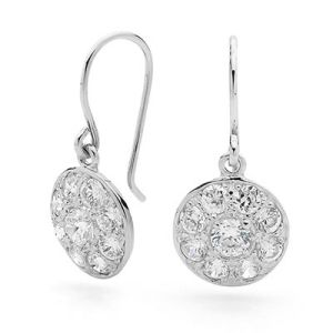 Image of Cubic Zirconia CZ Silver Earrings - Medallion (35352/CZ)