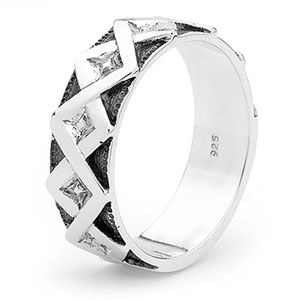Image of Silver Ring - Men's Zigzag Size S (35360)