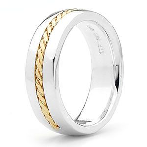 Image of Silver and Gold Ring - Men's Inlay Size S (35370S)