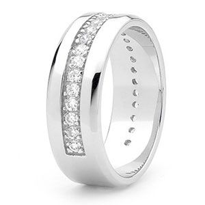 Image of Cubic Zirconia CZ Silver Men's Ring - Size T (35372T/CZ)