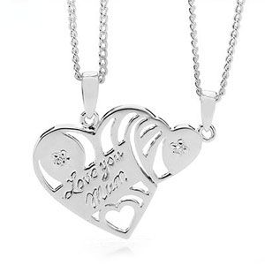 Image of Cubic Zirconia CZ Silver Pendant - I Love You Mum Heart (35408/CZ)
