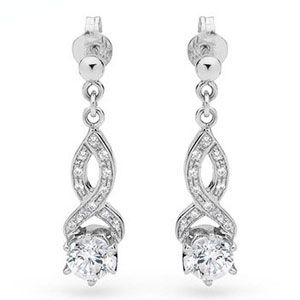 Image of Cubic Zirconia CZ Silver Earrings - Infinity (35417/CZ)
