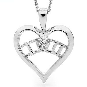 Cubic Zirconia CZ Silver Pendant - Heart I Love You