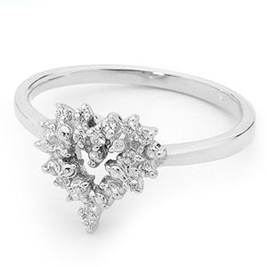 Image of Cubic Zirconia CZ Silver Ring - Heart Cluster (35467/CZ)