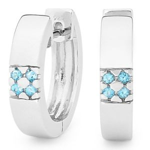 Image of Blue Topaz Silver Earrings - Huggies (35510/BT)