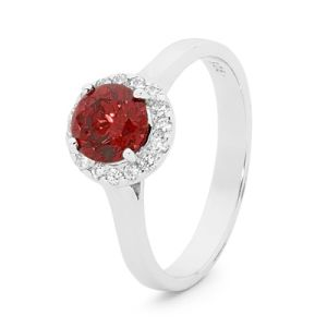 Image of Garnet Silver Ring - Cluster Round (35521/GT)