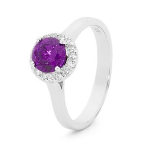 Image of Amethyst Silver Ring - Cluster Round (35521/AM)