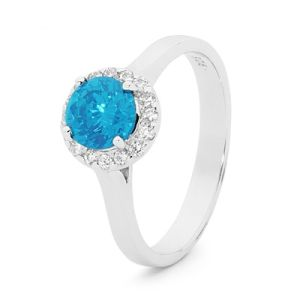 Image of Blue Topaz Silver Ring - Halo Round (35521/BT)