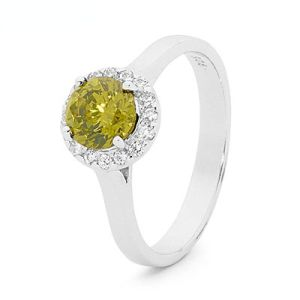 Image of Olive Cubic Zirconia CZ Silver Ring - Halo (35521/CZPT)