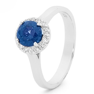 Image of Sapphire Silver Ring - Cluster Round (35521/SACR)