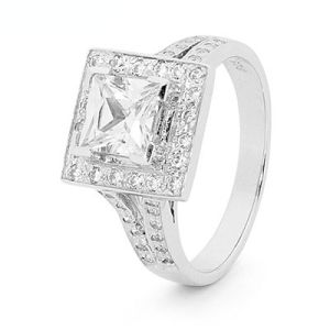 Image of Cubic Zirconia CZ Silver Ring - Square Halo (35522/CZ)