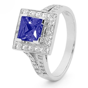 Image of Sapphire and Cubic Zirconia CZ Silver Ring - Square Halo (35522/SACR)