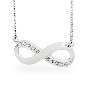 Image of Cubic Zirconia CZ Silver Necklace - Infinity (35523/CZ)