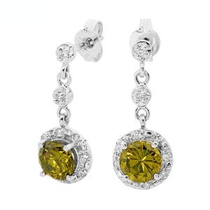 Image of Olive Cubic Zirconia CZ Silver Earrings (35526/CZPT)