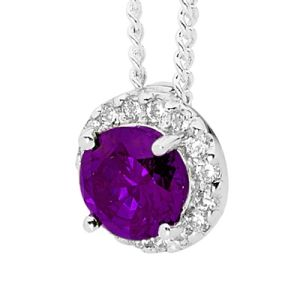 Image of Amethyst and Cubic Zirconia CZ Silver Pendant (35527/AM)