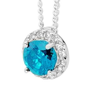 Image of Blue Topaz and Cubic Zirconia CZ Silver Pendant (35527/BT)