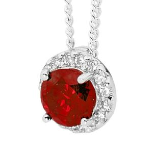 Image of Garnet and Cubic Zirconia CZ Silver Pendant (35527/GT)