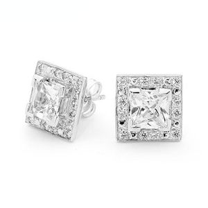 Image of Cubic Zirconia CZ Silver Earrings - Square Halo (35528/CZ)