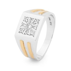 Image of Cubic Zirconia CZ 2 Tone Silver and Gold Ring - Men's Signet (35537U/C
