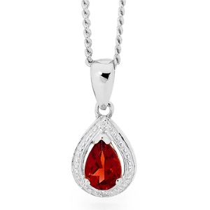 Image of Ruby and Cubic Zirconia Silver Pendant (35552/CR)