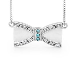 Image of Blue Topaz and Cubic Zirconia CZ Silver Necklace - Bow (35556/BT)