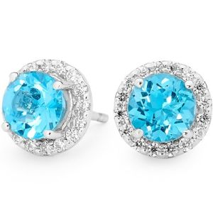 Blue Topaz and Cubic Zirconia CZ Silver Earrings - Cluster