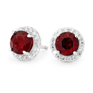 Garnet and Cubic Zirconia CZ Silver Earrings - Cluster