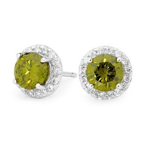 Olive Cubic Zirconia CZ Silver Earrings - Halo