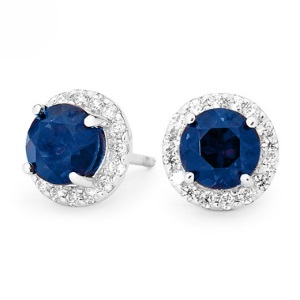 Image of Sapphire Silver Earrings - Halo Round (35557/SACR)