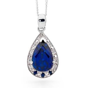 Image of Sapphire and Cubic Zirconia CZ Silver Pendant (35563/SACR)