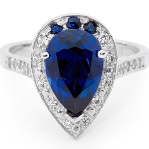 Image of Sapphire and Cubic Zirconia CZ Silver Ring (35564/SACR)