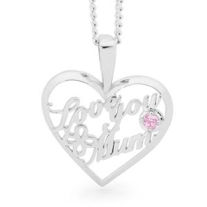 Image of Pink Cubic Zirconia CZ Silver Pendant - Love You Mum Heart (35571/CZP)