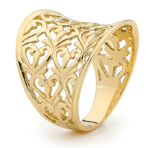 Image of Gold Ring - Heart Filigree (44288)